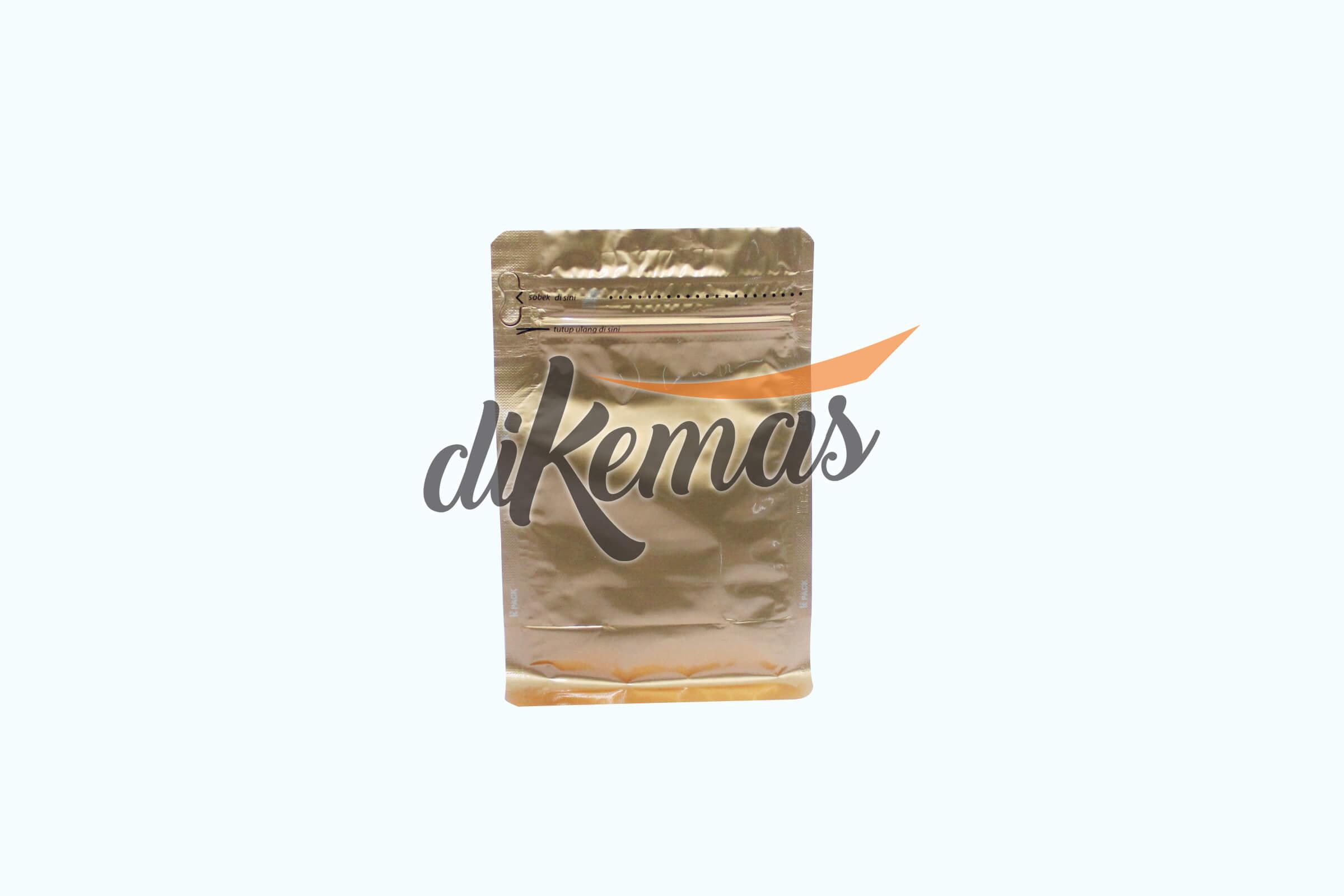 kemasan gusset flat bottom gold