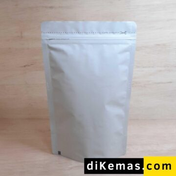 Kemasan Kopi Stand Pouch Putih Doff 14 x 23
