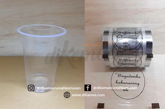 Jual Gelas Plastik Sablon Plus Lid Cup Kemasan Minuman